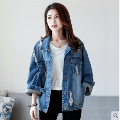 破洞網紅牛仔外套女寬鬆百搭學生新款春裝韓版原宿bf風短上衣 限時熱賣