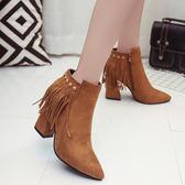 短靴休閒馬丁靴女裝尖頭高跟側拉鍊  ifashion部落