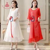 民族風藝術風洋裝連身裙女夏季中長款初戀裙超仙民族風裙子 巴黎時尚生活