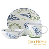 Just Home日本製童趣生活陶瓷3件兒童餐具組(盤+缽+杯)恐龍世界