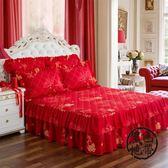 床裙單件加厚夾棉床罩席夢思保護套防滑床單床笠床蓋1.5m1.8米  ~黑色地帶