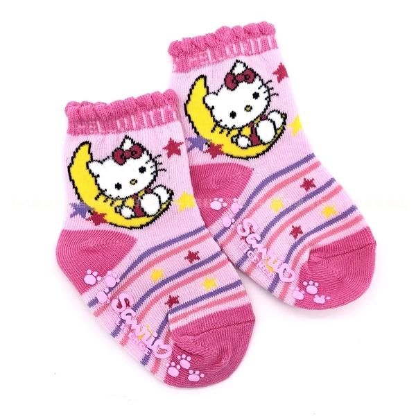 《7+1童鞋》Hello Kitty 正版授權 條紋 月亮 星星 童襪 寶寶短襪 9-11 公分 KT25 粉色