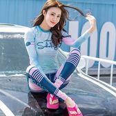 長袖潛水衣 套裝-韓版時尚防曬速乾女水母衣73mg43【時尚巴黎】