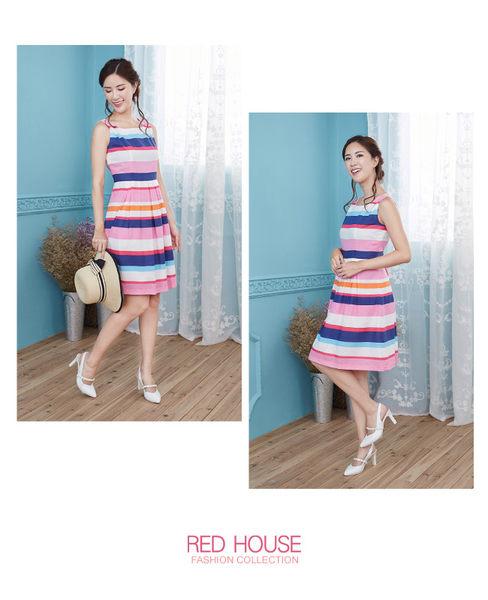 Red House 蕾赫斯-亮色條紋無袖洋裝(粉色)
