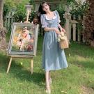 VK精品服飾 韓國楓在逃公主裙霧霾藍仙女...