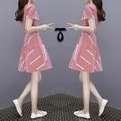 短袖洋裝-很仙的法國小眾雪紡連身裙夏新款...