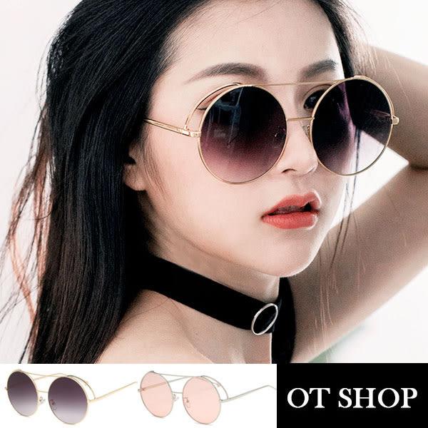 OT SHOP太陽眼鏡‧韓系復古時尚海洋透明鏡片金屬大圓框墨鏡‧金框黑灰/銀框海洋粉‧現貨‧U74