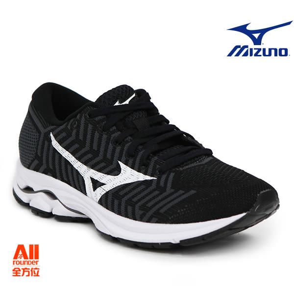 【Mizuno美津濃】女款休閒慢跑鞋WAVEKNIT R1 -黑色(J1GD182402)【全方位運動戶外館】