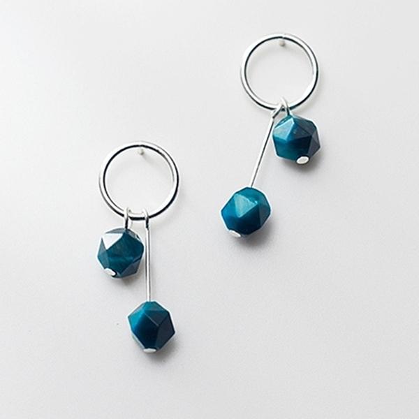 925純銀 圓形圓圈藍色虎眼石 耳環耳針-銀 防抗過敏