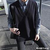 寬鬆無袖薄款毛衣日系情侶男士坎袖V領針織馬甲線衣背心潮 仅马甲 青木鋪子