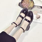 優惠兩天-女系小皮鞋新款淺口粗跟單鞋學生百搭一字扣女鞋潮