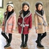 限定款厚外套 童裝秋冬款女童外套中大童中長版快速出貨免運女孩麂皮絨純色連帽上衣