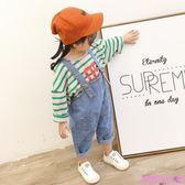 女童春裝新韓版女寶寶牛仔背帶褲子1-2歲幼兒衣服休閒小童裝