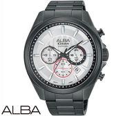 ALBA 勁速賽車運動三眼黑鋼男錶x45mm白・公司貨・VD53-X219SD ・AT3829X1・藍寶石水晶鏡面