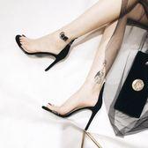 高跟涼鞋2018新款性感一字帶涼鞋夏季歐美透明露趾高跟鞋 ys2413『時尚玩家』