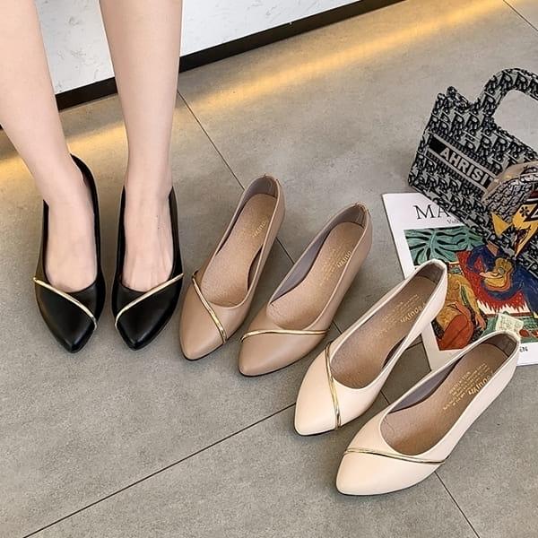 楔型鞋.MIT法式質感金屬條尖頭楔型包鞋.白鳥麗子