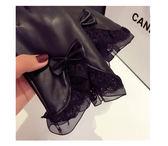 皮手套女士秋冬季皮手套可愛時尚蕾絲蝴蝶結加厚加絨騎開車隔風保暖修手