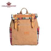 【COLORSMITH】LD・ 輕巧方形質感後背包-紅格紋・LD1325-RH-XS