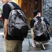 後背包男士休閒帆布包背包時尚潮流學生書包男電腦包旅行包 雲朵走走