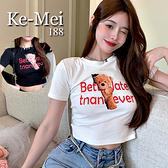 克妹Ke-Mei【AT68942】採購精選任二件188可愛小熊字母印花短版T恤上衣