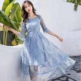 美之札[98733-QF]浪漫氣質蕾絲花朵中長洋裝~春酒尾牙~
