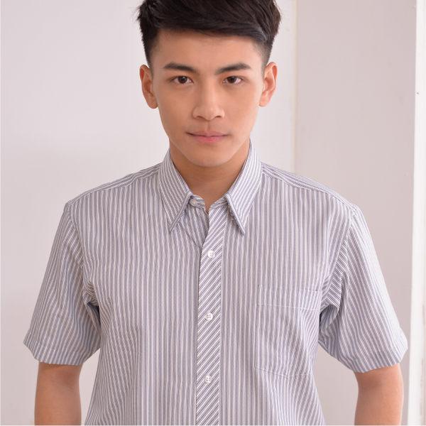 【S-62-1】森奈健 - 短袖男襯衫(黑色條紋)