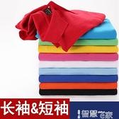 polo衫 polo衫女長袖翻領t恤2021定制純色有領休閒運動寬鬆大碼工作上衣 智慧