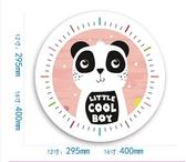 熊貓B款靜音機芯12英寸靜音石英鐘動物時鐘可愛鐘錶臥室兒童房掛鐘  JQ