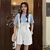 背帶褲夏季韓版薄款抽繩小個子減齡寬松連體短褲女裝【時尚大衣櫥】