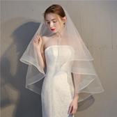 韓式新娘頭紗女超仙雙層造型婚禮婚紗頭飾 全館免運