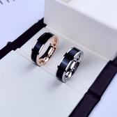 黑陶瓷戒指男女款食指時尚個性潮夸張大韓版網紅鈦鋼不掉色玫瑰金