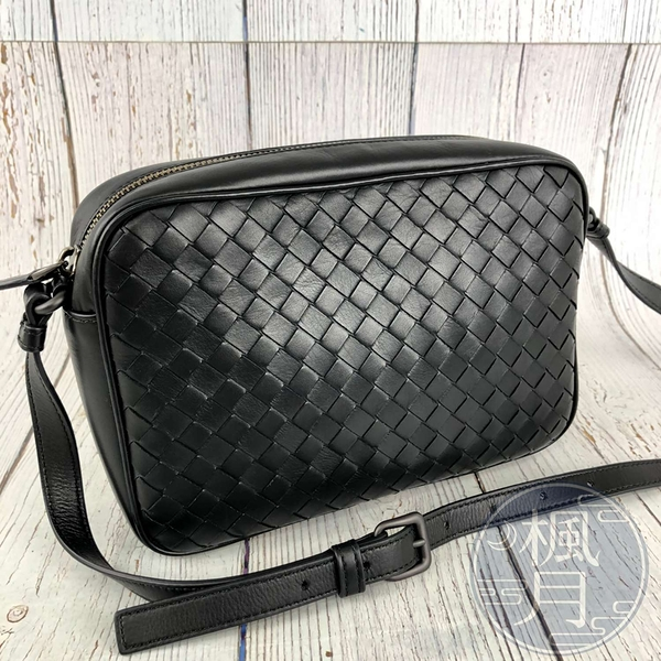 BRAND楓月 Bottega Veneta BV 黑色 經典 羊皮 編織 側背包 相機包 側背包 斜背包