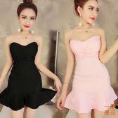 洋裝連身裙魚尾荷葉邊彈性褶皺緊身包臀抹胸裹胸連身裙短裙打底休閒韓國夏季