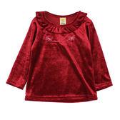 【愛的世界】小兔絨面長袖荷葉領上衣/2~3歲-台灣製- ★秋冬上著