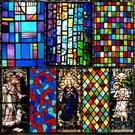 窗貼 歐式復古教堂彩色玻璃貼紙靜電磨砂玻璃貼膜衣柜衛生間窗戶花貼紙