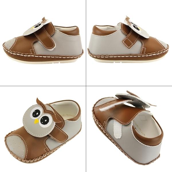 【愛的世界】貓頭鷹寶寶鞋/學步鞋(棕色)-台灣製 --夏出清童鞋