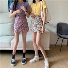 半身裙 高腰A字裙小碎花包臀裙性感短裙夏季2020年新款短款半身裙裙子女 歐歐