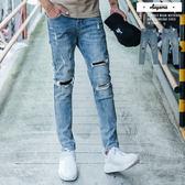 牛仔褲 破壞補丁水洗刷色彈力牛仔褲【K131】休閒褲