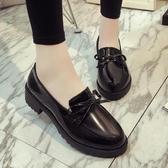 小皮鞋女英倫復古學院風平底單鞋蝴蝶結女鞋子 免運