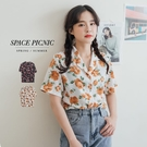 襯衫 Space Picnic 玫瑰雪紡短袖襯衫(預購)【C21042024】