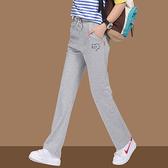 直筒運動褲女 秋季寬鬆大碼長褲女士春秋灰色加絨加厚休閒褲褲子 米娜小鋪