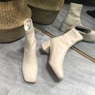 白色短靴女瘦瘦靴子女2020年新款高跟鞋網紅透氣馬《微愛》