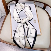 2020新款圍巾女春秋薄絲巾小長條冬季外搭時尚裝飾窄絲帶飄帶領巾一米