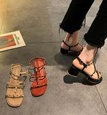 涼鞋-時尚高跟涼鞋女2021年新款夏季百搭網紅ins潮鉚釘中粗跟羅馬涼鞋