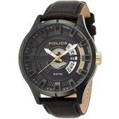 【台南 時代鐘錶 POLICE】義式潮流 金屬工業風格時尚手錶 14678JSB-02 皮帶 黑 39mm