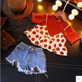 女童夏季套裝復古短袖T恤草莓裙擺邊吊帶洋氣兩件套裝【奇趣小屋】