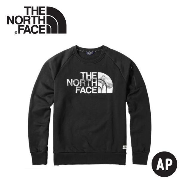 【The North Face 男 LOGO長袖內刷毛T恤《黑》】3VUB/大學T/保暖長袖