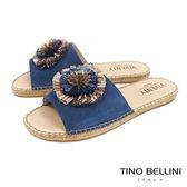 Tino Bellini 西班牙進口層次花朵麻編平底涼拖鞋 _ 藍 B83213 歐洲進口款