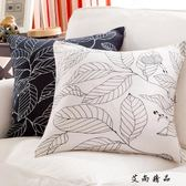 北歐黑白樹葉抱枕沙發靠墊枕頭