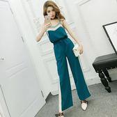 2018夏裝新款韓版氣質撞色吊帶上衣 松緊腰寬松顯瘦闊腿褲套裝女